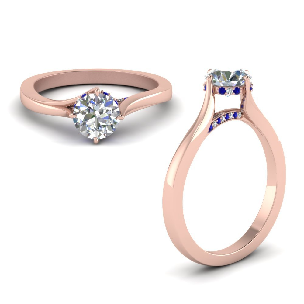 Sapphire Swirl Prong Round Diamond Ring In 14K Rose Gold