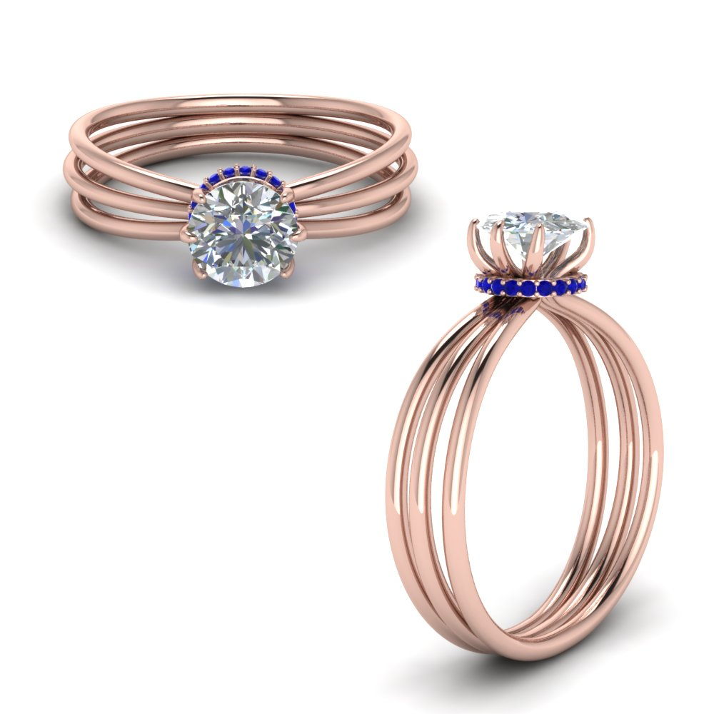 Sapphire Trio Split Shank Ring Gift In 14K Rose Gold