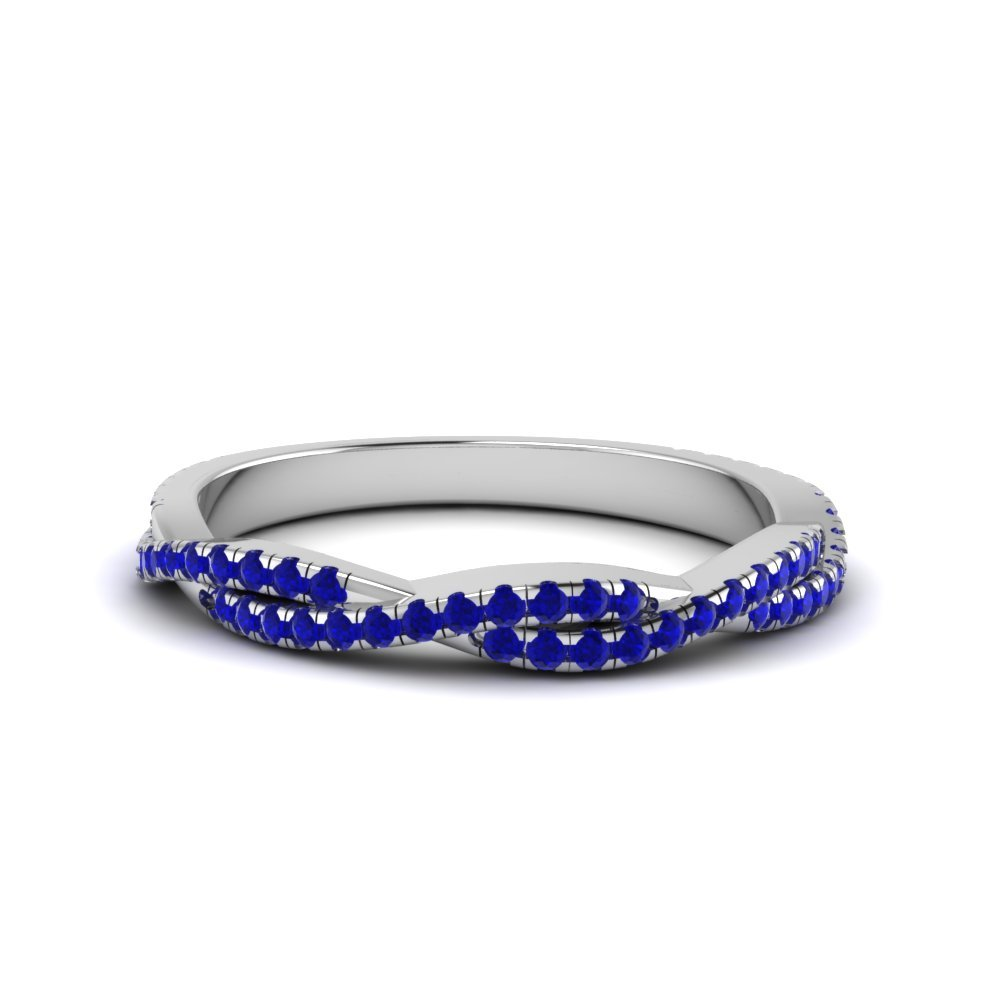 Sapphire Twisted Wedding Band Gift For Her In 14K White Gold