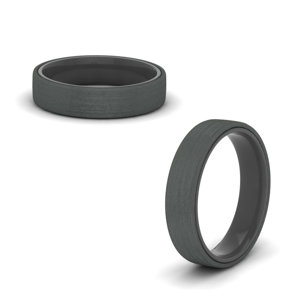 Satin Finish Wedding Band Black Gold