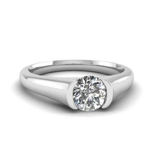Semi Bezel Set Round Cut Solitaire Engagement Ring In 14K White Gold