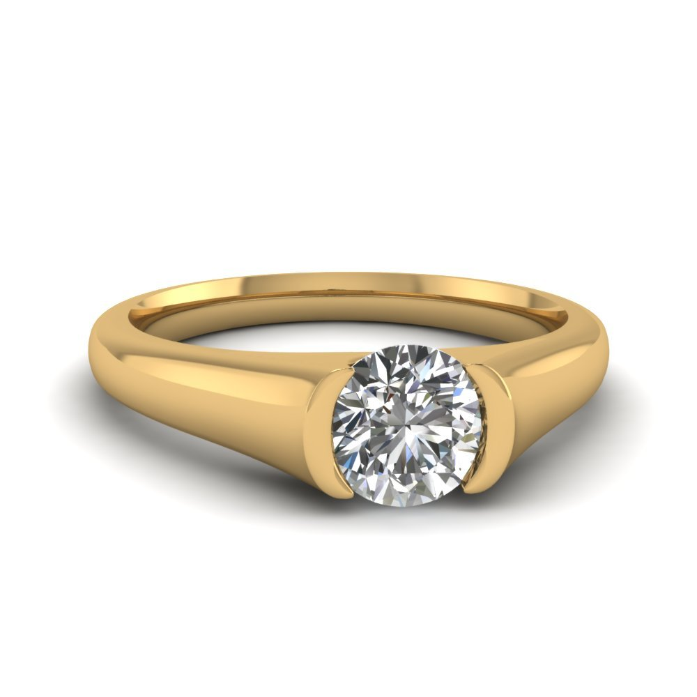 Semi Bezel Set Round Cut Diamond Solitaire Ring In 14K Yellow Gold