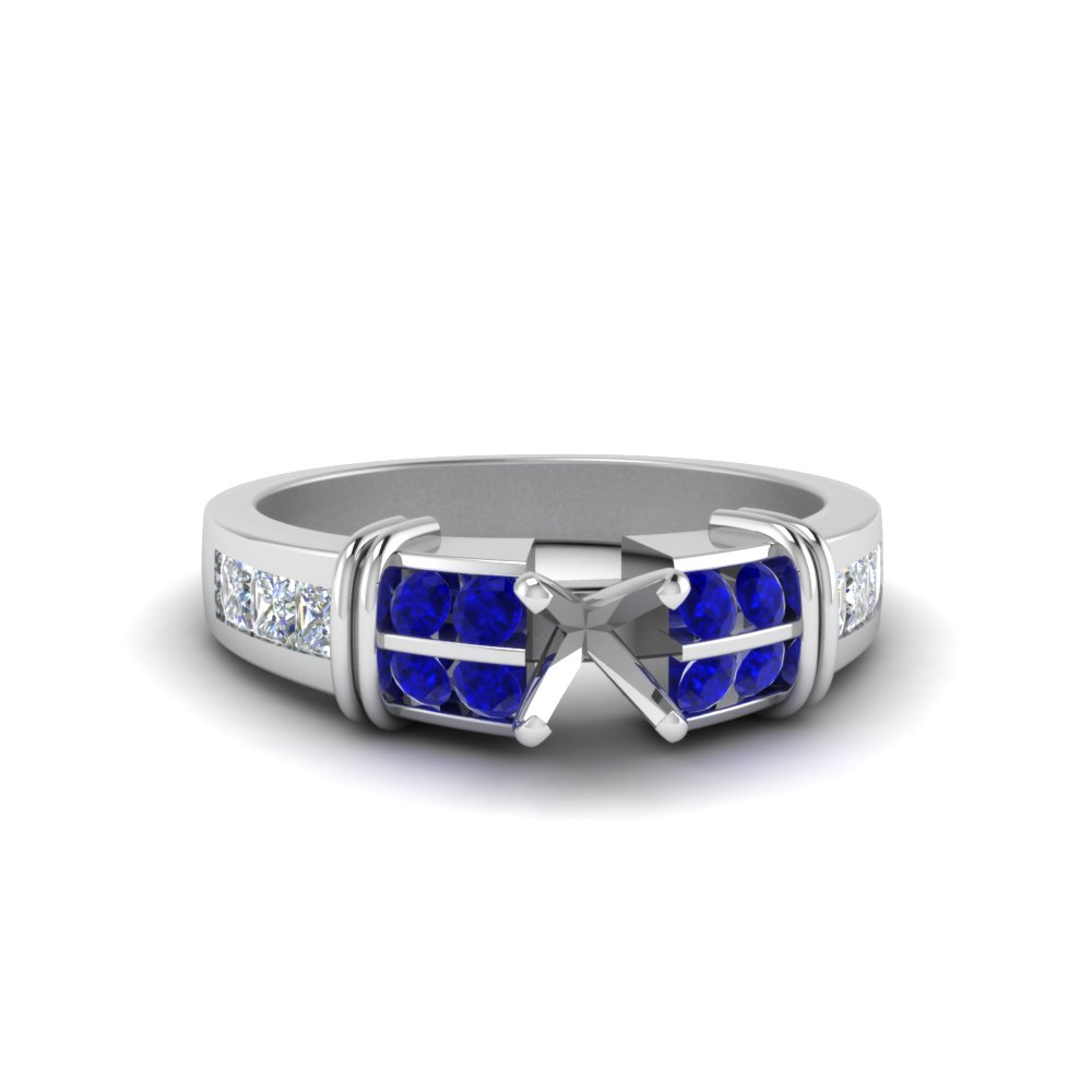 Semi Mount Bar Channel Set Wide Diamond Ring With Blue Sapphire In 14K White Gold
