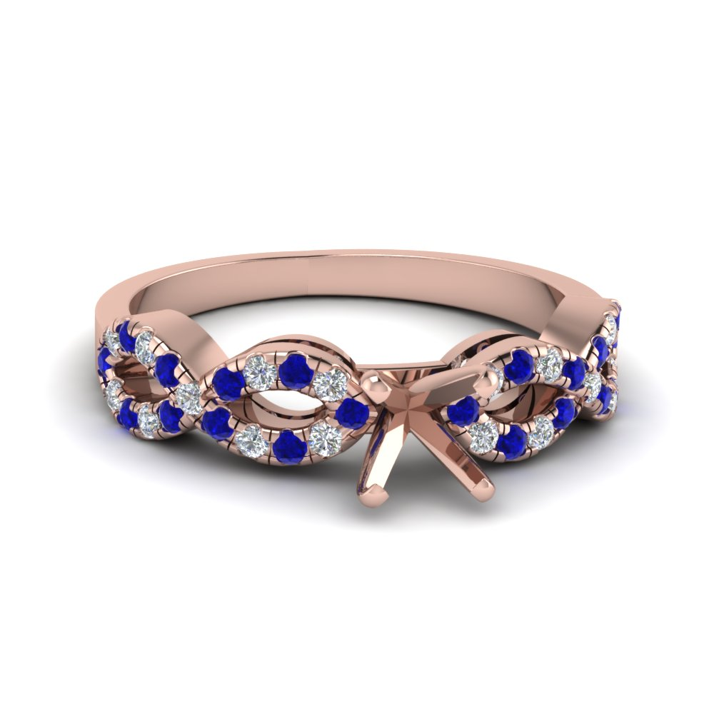 Semi Mount Braided Diamond Engagement Ring With Sapphire In 14K Rose Gold