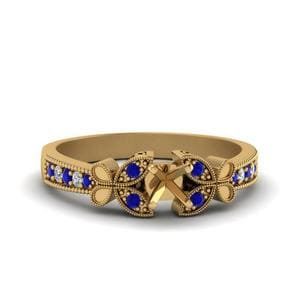 Vintage Butterfly Diamond Engagement Ring With Sapphire In 14K Yellow Gold