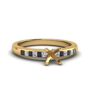 Marquise Channel Princess Cut Enagagement Ring With Black Diamond In 14K Yellow Gold
