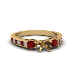 Asscher Cut Channel Three Stone Diamond Ring With Ruby In 14K Yellow Gold