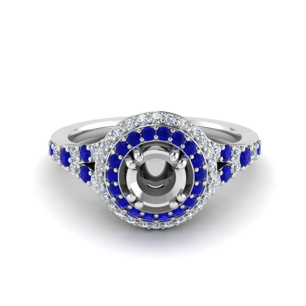 Petite Double Halo Diamond Engagement Ring With Sapphire In 14K White Gold