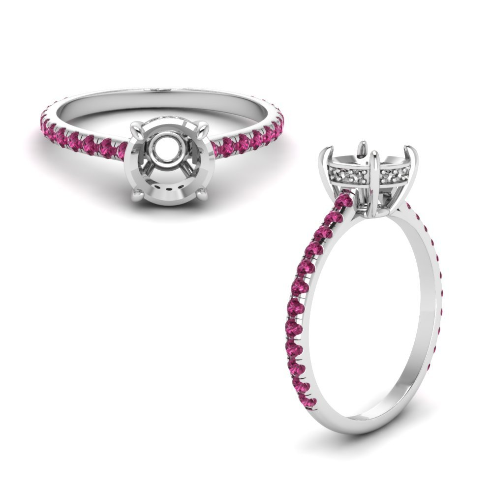Round Diamond Petite Ring With Pink Sapphire In 14K White Gold