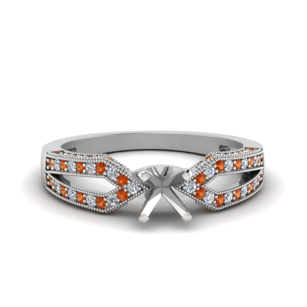 Antique Split Pave Cushion Cut Diamond Engagement Ring With Orange Sapphire In 14K White Gold