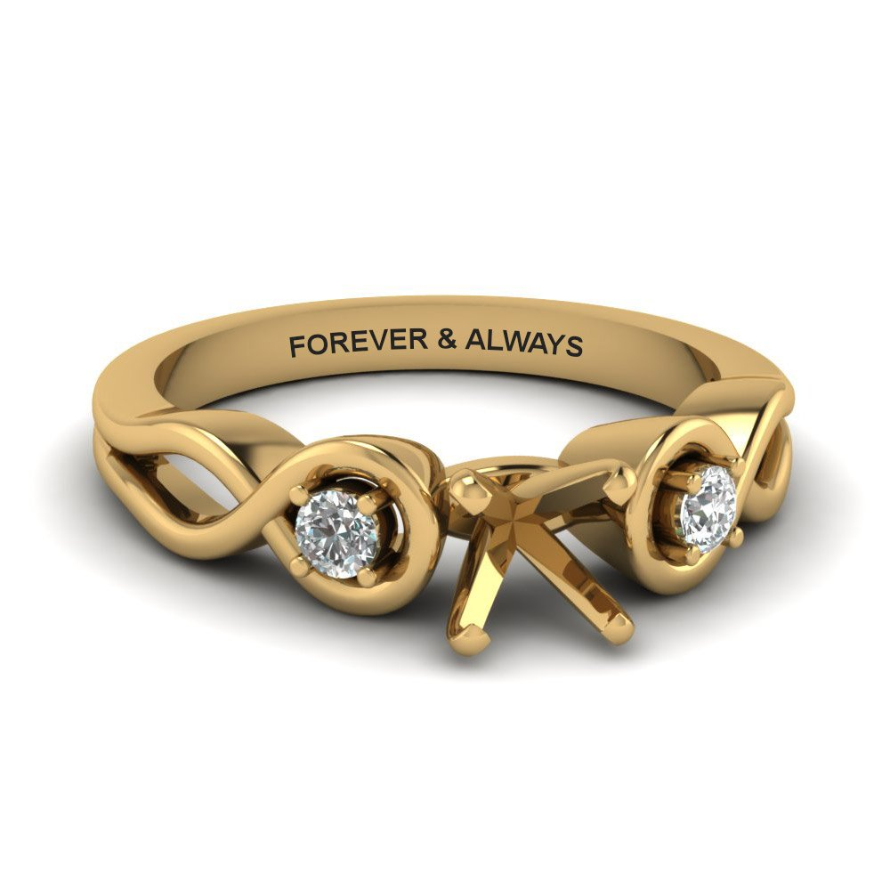 Princess Cut Engraved Three Stone Diamond Engagement Ring In 14K Yellow Gold