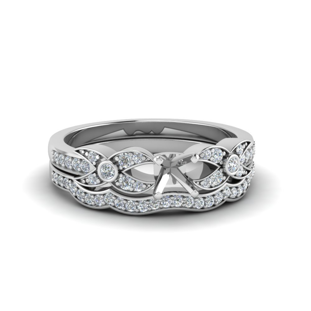 Semi Mount Wedding Ring Set