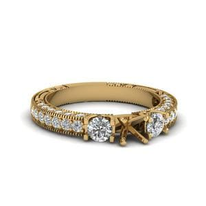 Round Cut Stone Accented U Prong Diamond Vintage Engagement Ring In 14K Yellow Gold