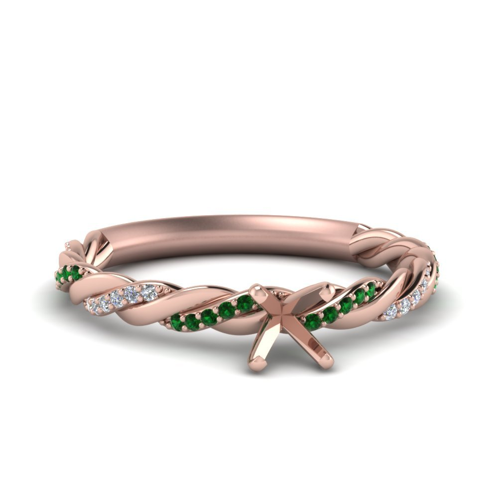 Twisted Semi Mount Diamond Engagement Ring With Emerald In 14K Rose Gold