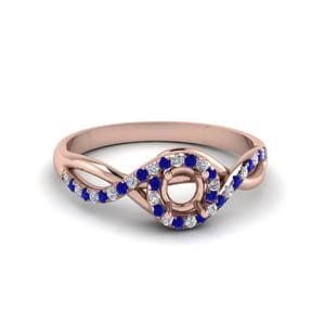 Round Cut Twisted Halo Diamond Engagement Ring With Blue Sapphire In 18K Rose Gold