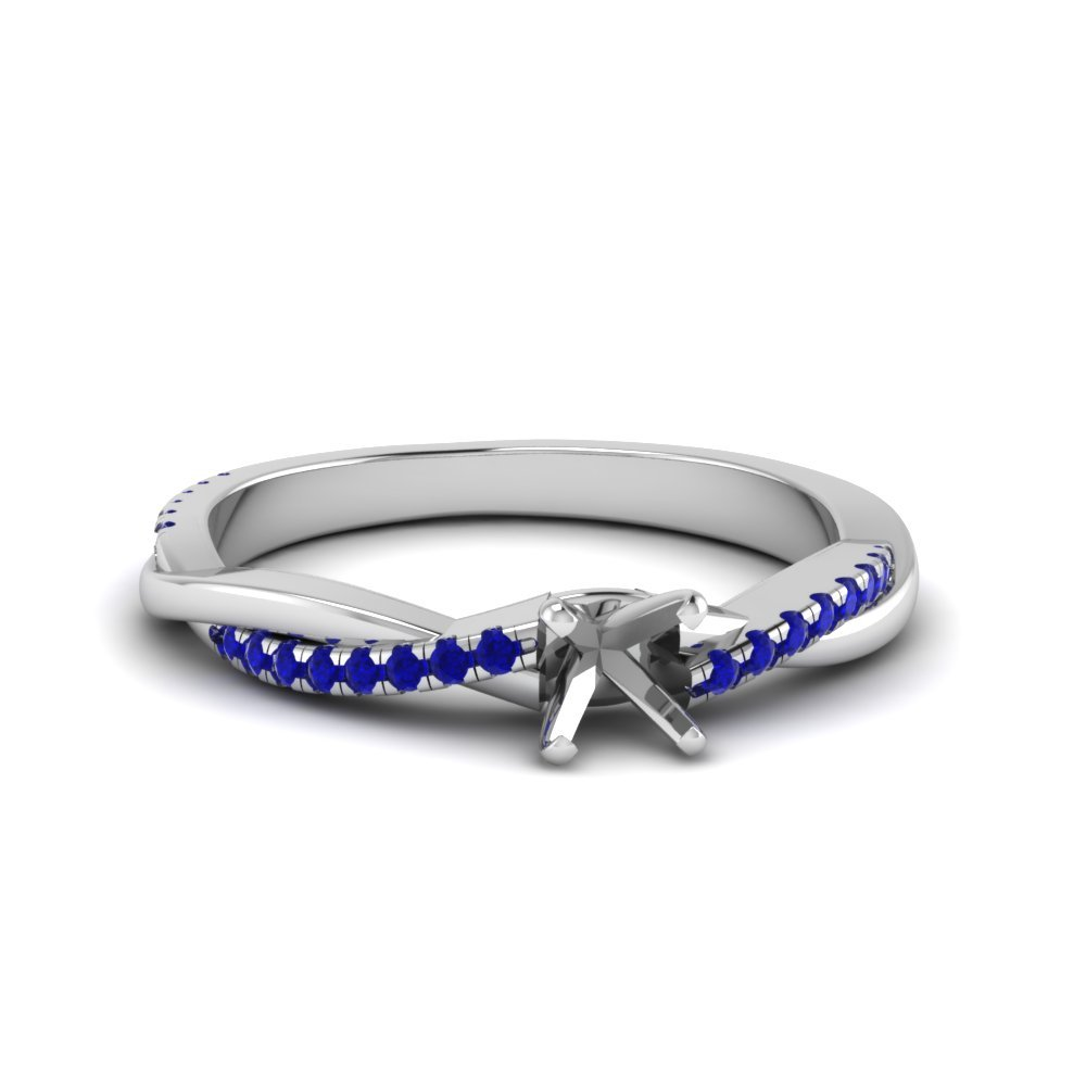 Twisted Vine Semi Mount Engagement Ring With Sapphire In 14K White Gold