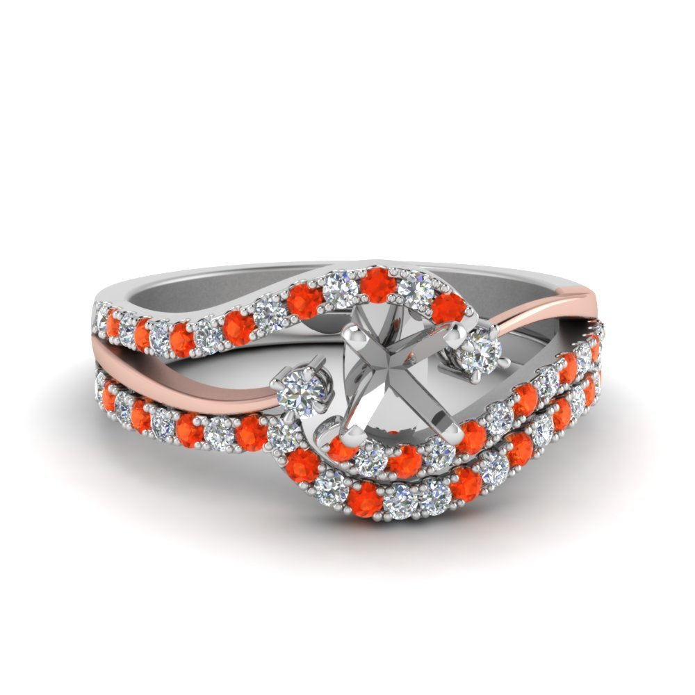 Semi Mount Orange Topaz Wedding Set