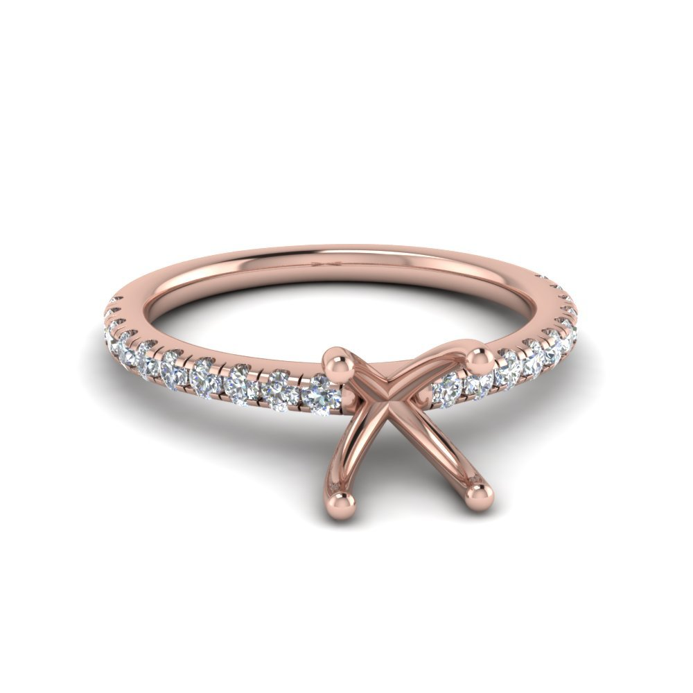 Princess Cut U Prong Diamond Ring In 14K Rose Gold