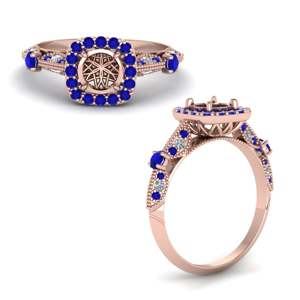 Semi Mount Vintage Halo Diamond Ring With Sapphire In 14K Rose Gold