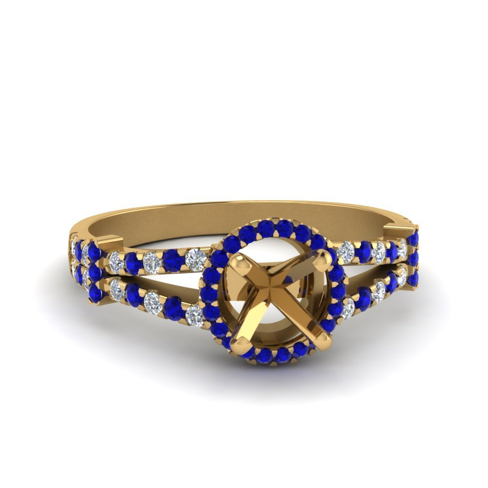 Halo Pave Split Shank Semi Mount Engagement Ring With Sapphire In 14K Yellow Gold