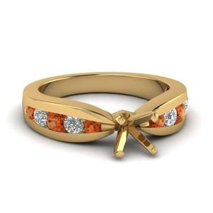 Tapered Channel Set Princess Cut Diamond Engagement Ring With Orange Sapphire In 14K Yellow Gold