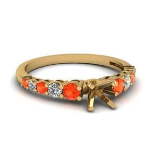Graduated Cushion Diamond Ring With Poppy Topaz In 14K Yellow Gold