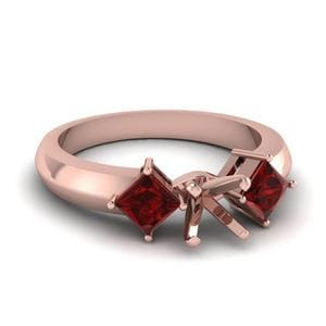 Kite Set 3 Stone Heart Shaped Engagement Ring With Ruby In 18K Rose Gold