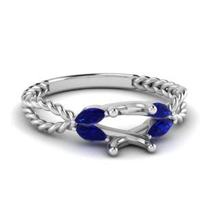 Twisted Leaf Diamond Engagement Ring With Sapphire In 950 Platinum