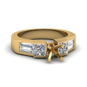 Art Deco Radiant Diamond Engagement Ring In 14K Yellow Gold
