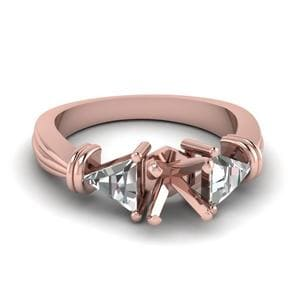 Trillion 3 Stone Princess Cut Diamond Engagement Ring In 18K Rose Gold