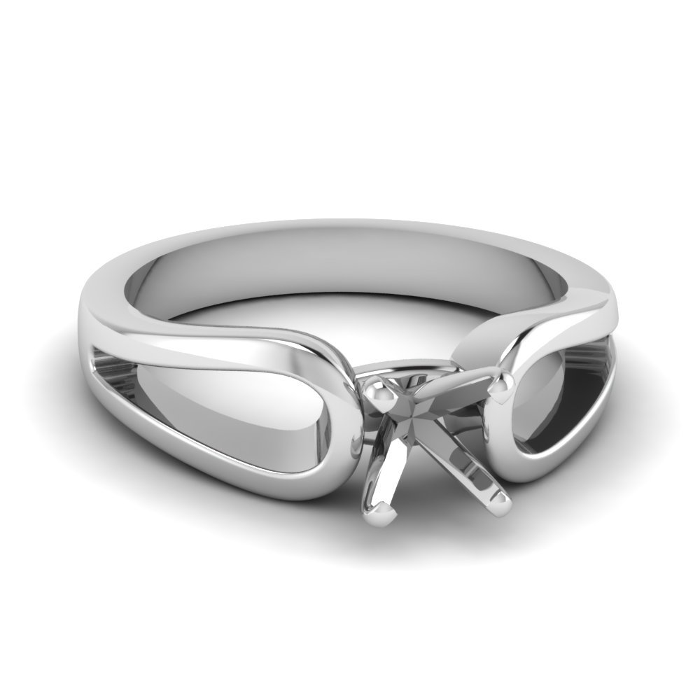 Heart Shaped Diamond Loop Duet Soltaire Ring In 14K White Gold