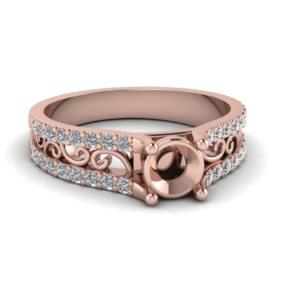 Diamond Charm Filigree Vintage Engagement Ring In 18K Rose Gold