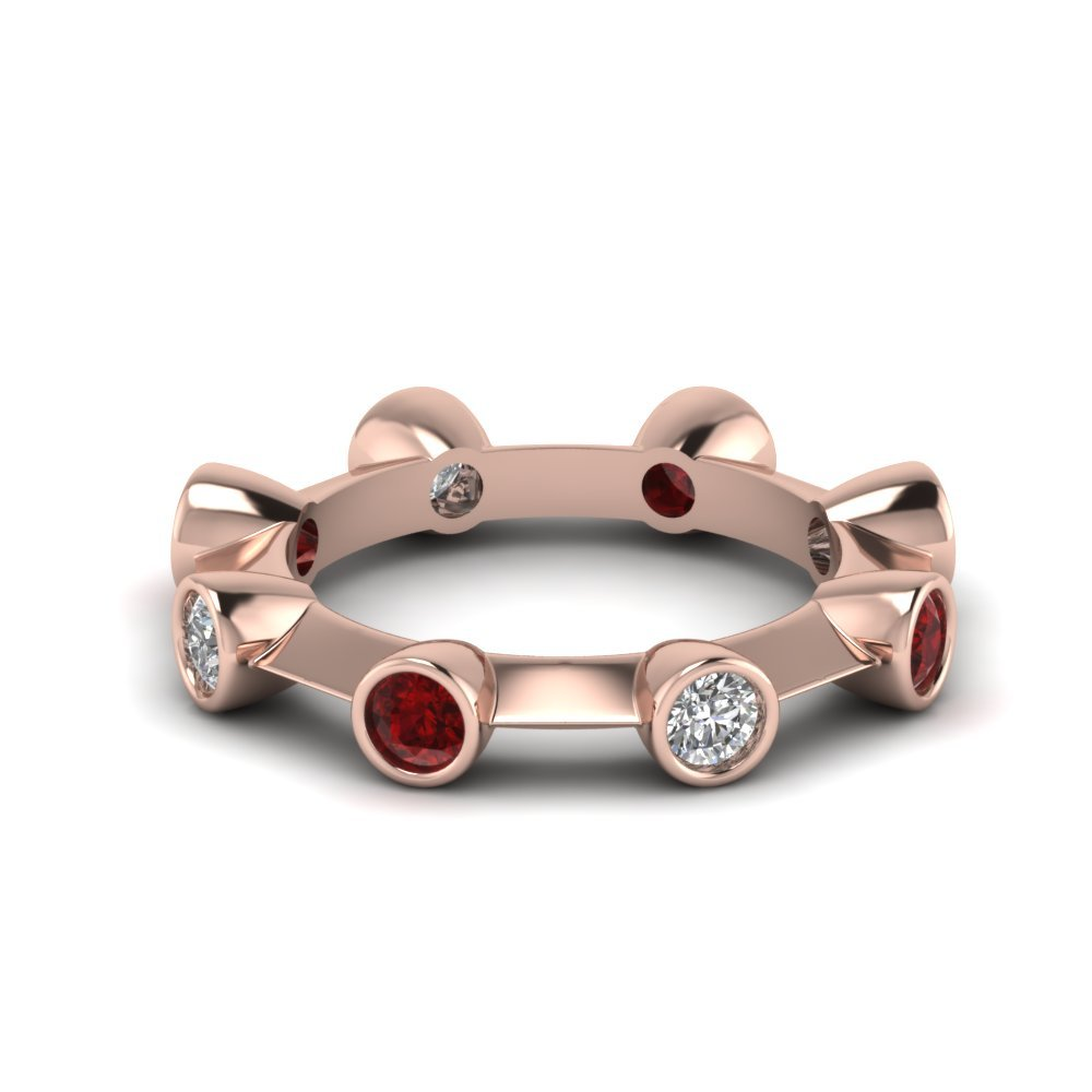 Diamond Eternity Band With Ruby