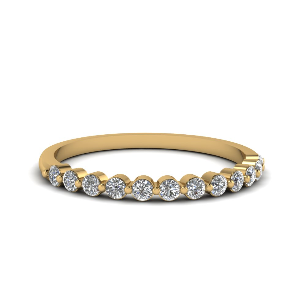 Shared Prong Diamond Band For Women In 14K Yellow Gold