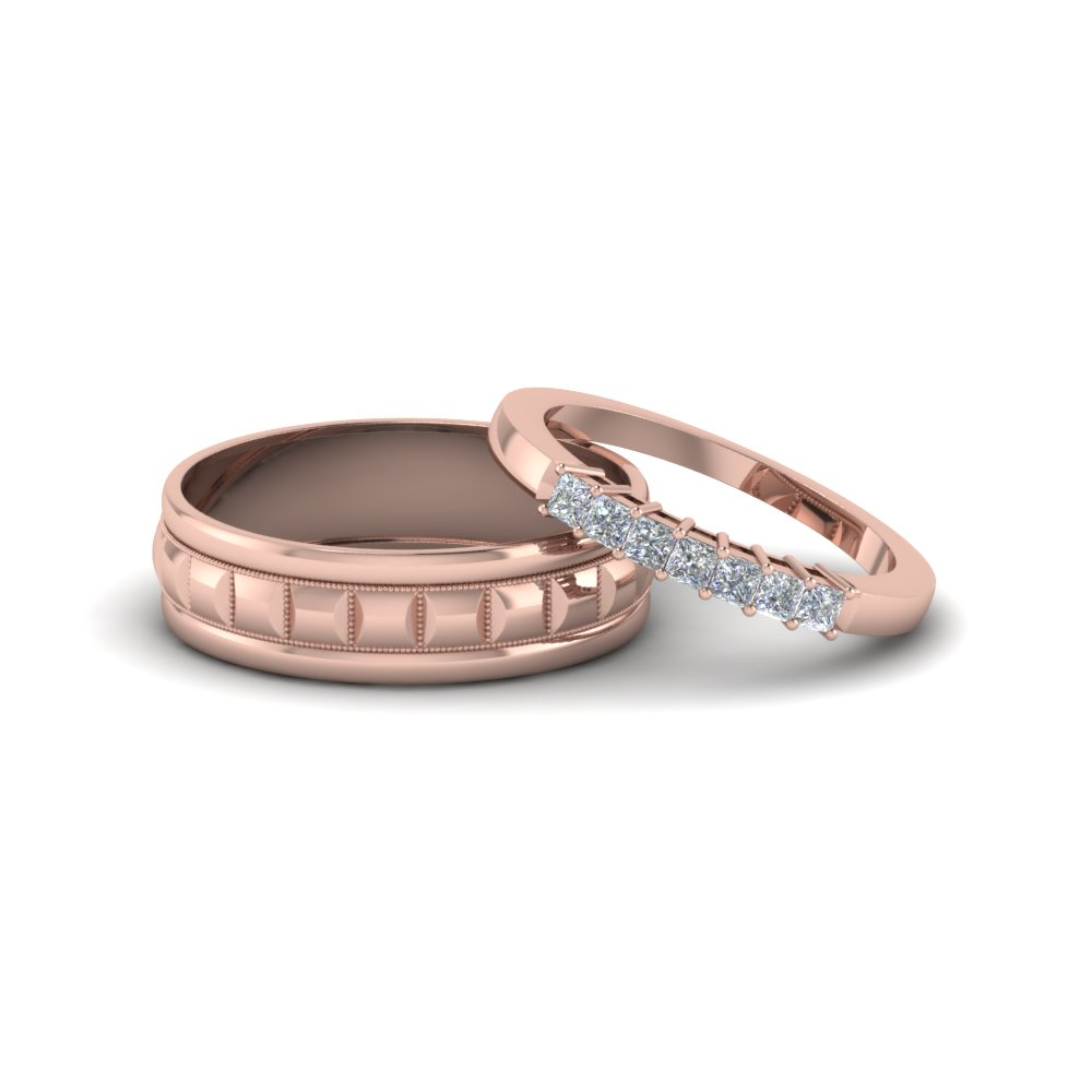 Simplistic Bands: Art Deco Pave Wedding Band In 14K Rose Gold