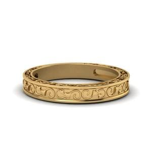 Hand Engraved Wedding Band In 14K Yellow Gold