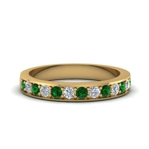 Simple Emerald Pave Band