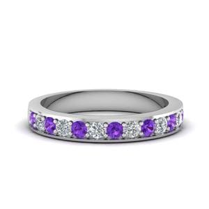 White Gold Purple Topaz Band