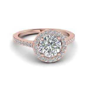 Simple Round Halo Diamond Engagement Ring In 14K Rose Gold
