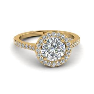 Simple Round Halo Diamond Ring
