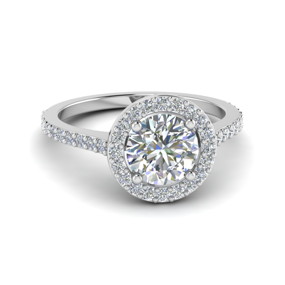 Simple Round Halo Diamond Engagement Ring In 18K White Gold