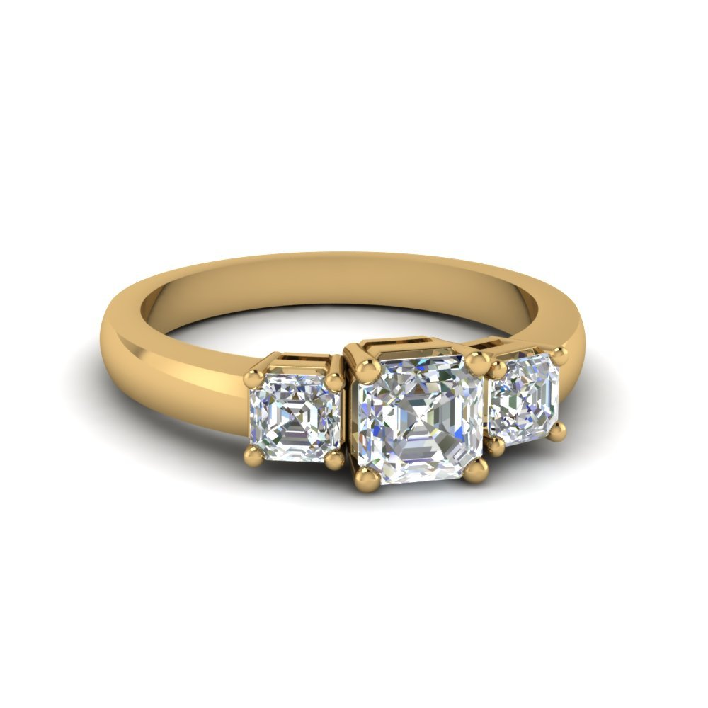 Simple Three Asscher Cut Diamond Engagement Ring In 14K Yellow Gold
