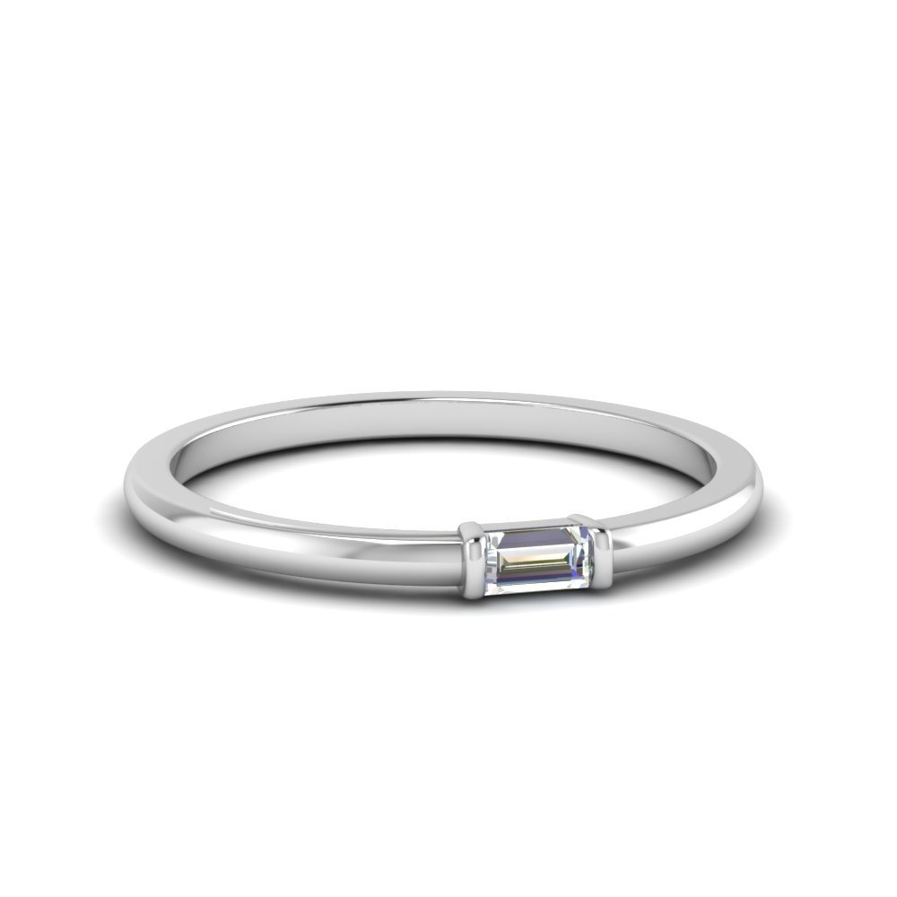 Single Baguette Delicate Wedding Ring