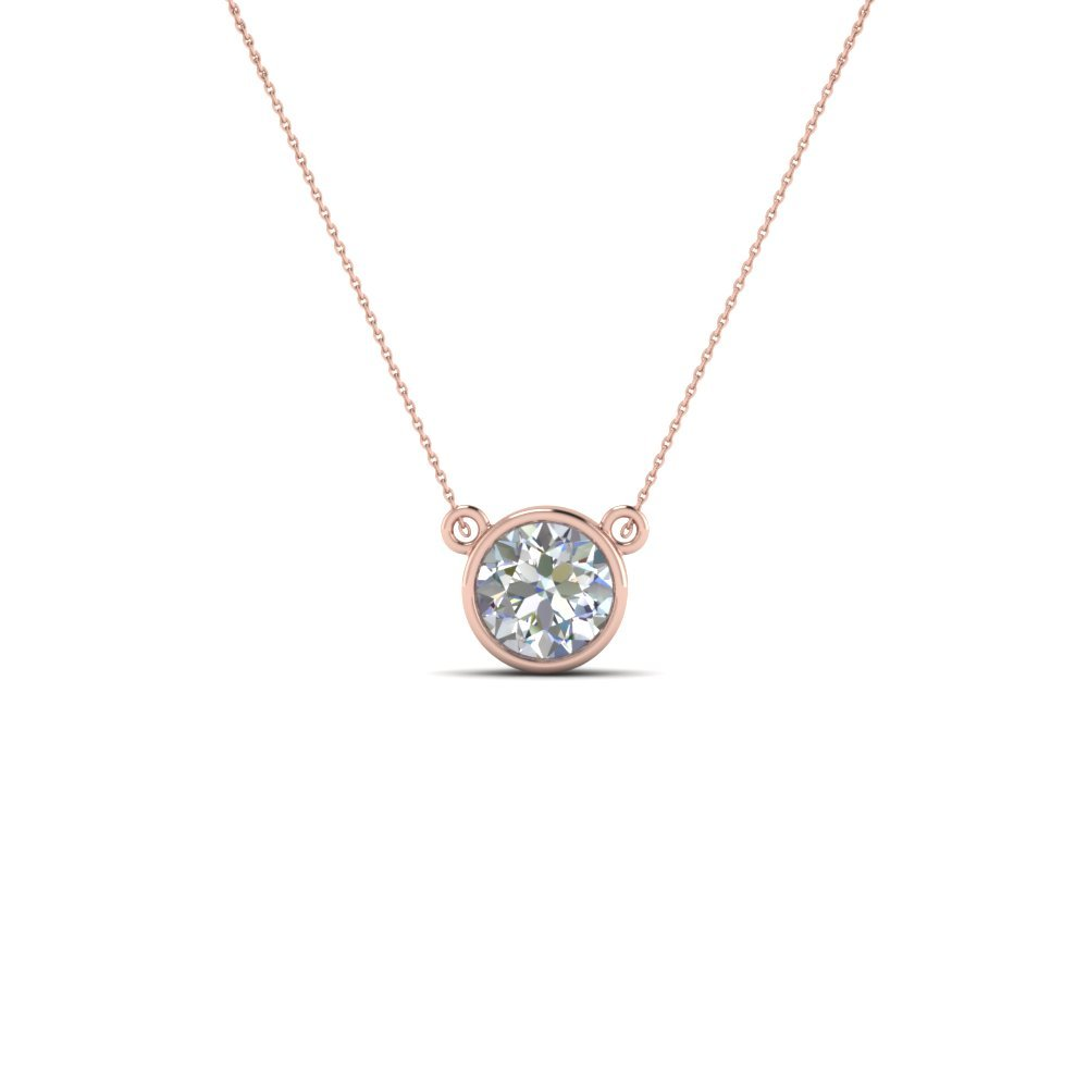 Single Bezel Set Diamond Pendant Necklace In 14K Rose Gold