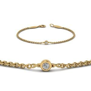 Single Diamond Chain Bracelet In 14K Yellow Gold