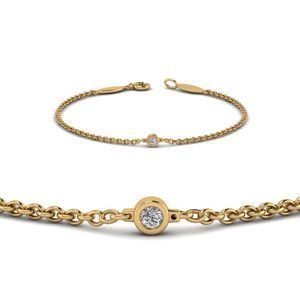 Single Diamond Chain Bracelet In 18K Yellow Gold