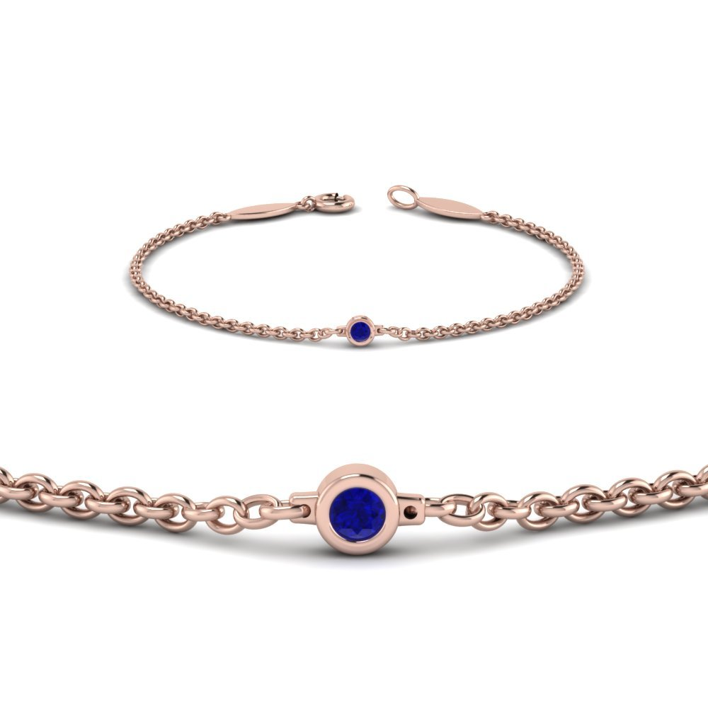 Single Sapphire Rose Gold Bracelet