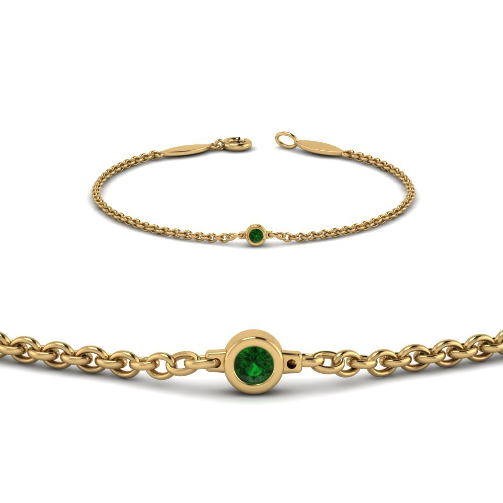 Single Emerald Chain Bracelet