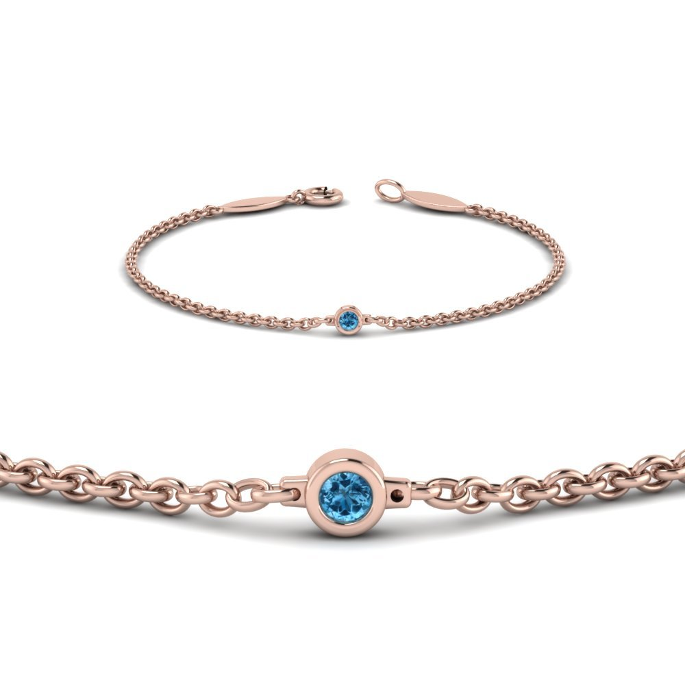 Single Blue Topaz Chain Bracelet