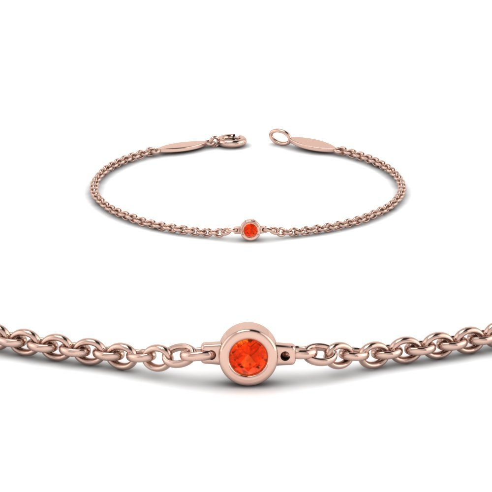Single Orange Topaz Chain Bracelet